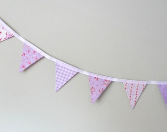 Lilac floral bunting, mini bunting, shabby chic bunting, sale