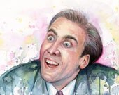 Nicolas Cage Meme You Don't Say Watercolor Painting Giclee Print, Meme Art, A Vampire's Kiss Nic Cage
