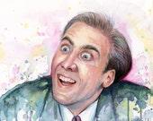 Nicolas Cage Meme, You Don't Say, Watercolor Painting, Art Print, Meme Art, A Vampire's Kiss Nic Cage, Nic Cage Print, Nicolas Cage Art