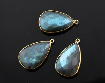 Natural Labradorite Pendant in Gold Vermeil, 16x25mm Incredible Blue Fire to Illminate Your Style., 1 Piece (LABZC1041)