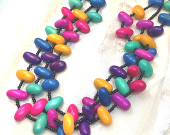Vintage Wooden Bead Necklace Multicolor Multistrand Estate Jewelry c. 1970