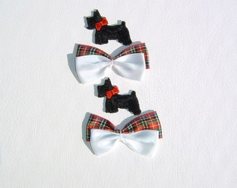2 Embroidered Applique Scotty Dogs and 2 Double Plaid Bows
