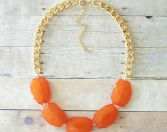 Burnt Orange Single Strand Statement Necklace on Chunky Gold Chain, Orange Statement Necklace