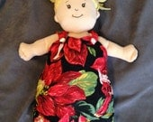 Reversible Sleep Nap Sack in Christmas Fairies and Red Cuddle Dot for Baby Stella, Waldorf and 13, 14, 15, 16 Inch Dolls, Doll Clothes