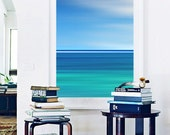 Abstract Blue Ocean Photo Large Wall Art Aqua Turquoise Teal Beach Decor Nautical Caribbean Sea Stripes Seascape Photography Coastal Art