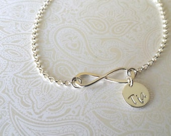 Infinity Bracelet with Tia Charm -Gift for Tia, Gift for Sister, Gift for Aunt, GIft for Aunt, Aunt to Be