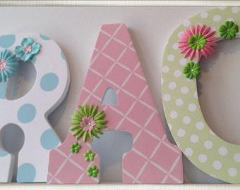 Winnie the Pooh Inspired Letters. Girls Nursery Letters. Wood Letters. Pastels. Nursery decor. Name letters. Flowers. Pastel. Nursery.