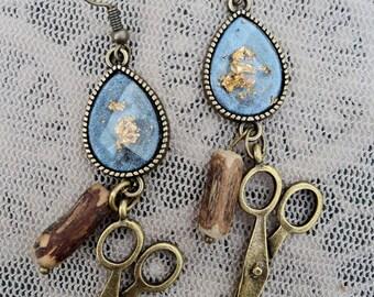 Poetic Wind and Wood Hair Stylist Scissor Charm Earrings