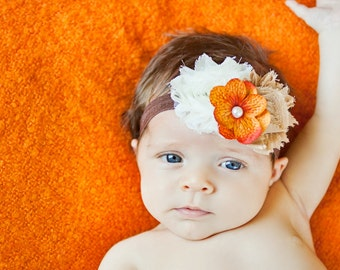 Baby Headband, Fall Headband, ivory/brown Thanksgiving headband, newborn photo prop, infant headband, First thanksgiving, baby accessories
