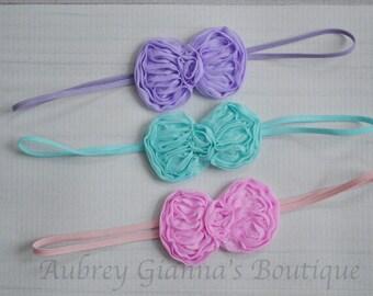 Spring Bow headband Set of 3, baby headbands, newborn headband, baby hair bow, Pink bow, newborn photo prop, baby girl accessories