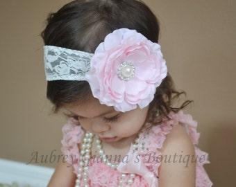 Shabby chic Headband, Pink baby Headband, Newborn headband, baby hair bow, Newborn photo prop, hair accessories. Infant Headbands