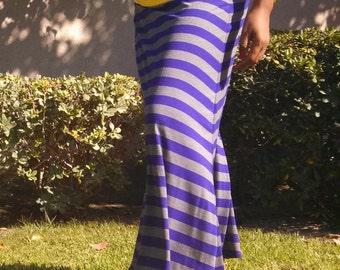 CLEARANCE ~ Jersey Maxi Skirt - A Line Fold Over Maxi Skirt ~ Purple / Grey Stripe - Size 14