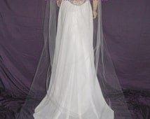 """Wedding Veil Cathedral length Blush Lavender Navy Black Red Purple Pink Ivory Beige Single Tier 54"""" Width  110"""" Length Raw Edge 25 Colors"""