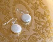 Coin Pearl Earrings - Sterling or Gold Filled - Bridesmaid Earrings - Bridesmaids Sets, Bridal, Wedding Jewelry, Pearl Earrings