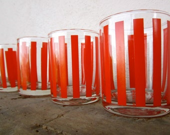 Four retro 'By Cerve' signed candy stripe glasses