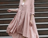 Lagenlook Pink Dress - Casual Linen Loose-Fitting Pleated Shirt Day Dress with Asymmetrical Hemline & 3/4 Sleeves C276