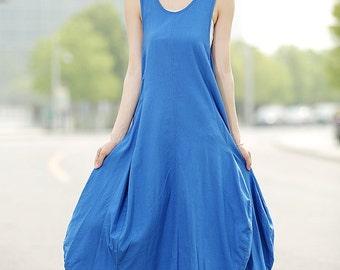 Linen Dress, long vest dress, sleeveless dress, sleeveless linen maxi dress, blue dress, blue linen dress, asymmetrical dress, dress C355