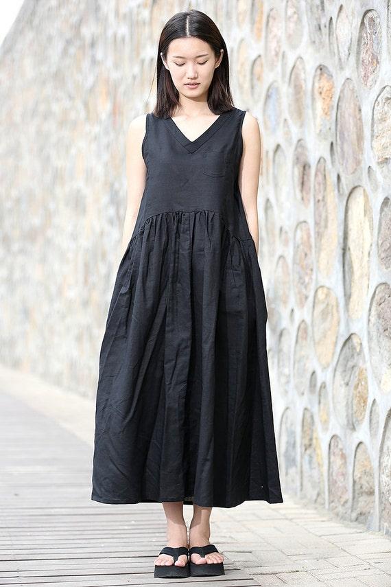 fc4c9378604 Items similar to Maxi Dress - Summer Dress in black- Linen .