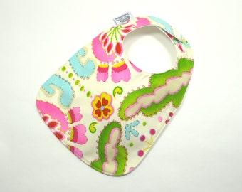 Baby Bib, Baby Girl, Kumari Gardens, Modern Baby Bib, Pink, turquoise and green, designer baby bib, flowers, floral, 100% cotton