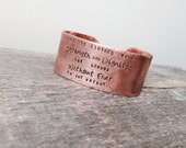Christian Jewelry Proverbs 31:25 Bracelet Bible Verse Jewelry Wide Copper Cuff Anniversary Gift Personalized Hand Stamped Christian Jewelry