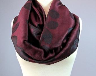 Burgundy scarf, wine infinity scarf, floral pattern, fashion scarf