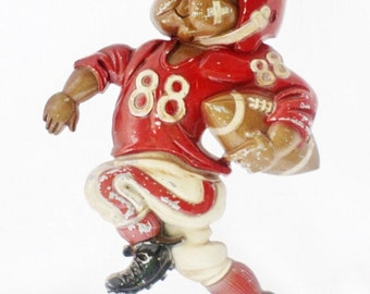 Football, Football Player, Sports, Homco, Wall Plaques, 1976, USA, Wall Hangings, Vintage, Wall Decor, Boy's Room, Red, Brown, White, Black