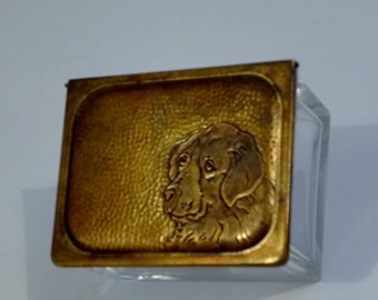 Art Deco Crystal Glass Box featuring a St. Bernard Dog - German - Crystal - Excellent Condition - High Quality Item