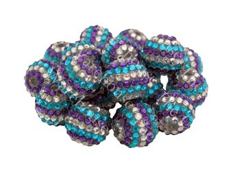Stripe Chunky Rhinestone Beads | 20mm | Frozen Stripes | Chunky Gumball Beads | DIY Chunky Necklace | Monster High | Pave Berry Beads