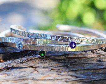 Handmade Stacking Sterling Silver Bracelets, Stacking Gemstone Bracelets, Silver Stacking Bangles