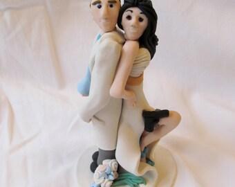 Anna and Tom, Hand Sculpted Custom Wedding Cake Topper, Mr. & Mrs. Smith, Scientist, Polymer Clay, Gun