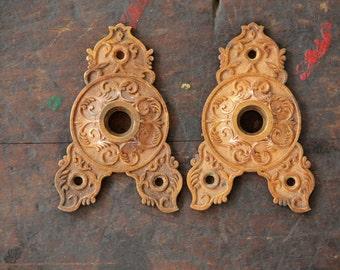 pair antique triangle brass rosettes door hardware escutcheon 1800's