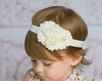 Ivory Headband,  Baby Headband,  Headband, Baby Headband, Infant Headband, Newborn Headband, Christening Headband, Baptism Headband