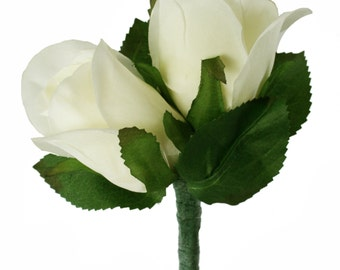 Ivory Silk Rose Double Boutonniere