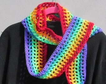 Gay Pride Scarf, Rainbow Scarf, NO H8, Fall Crochet Scarf, Festival Wear, Summer Scarf, Crochet Rainbow Scarf, Fashion Scarf, Fall Scarf