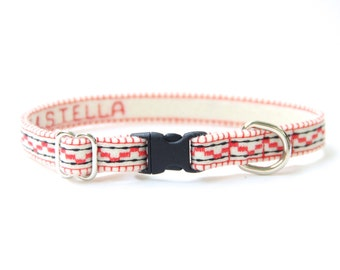 Cat Collar - White/Coral - Embroidered - Adjustable - Optional ID Tag