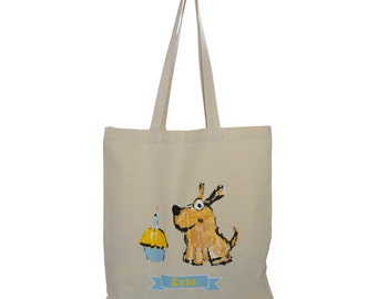Personalized Birthday Dog Tote Bag with Birthday Pup & Cupcake Design