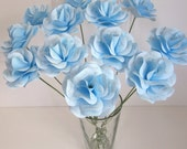 Blue Baptism Decoration or Favor Baby Blue Paper Roses with Personalized Silver Gray Print Customize for Birthdays, Shower or any Occasion