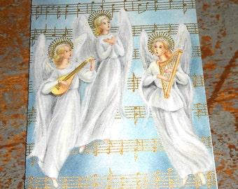 Vintage Cards, Christmas, Angels, Music Notes, Hallmark, Christmas Cards, Unused, Set of Three