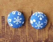 Fabric Button Earrings / Snowflakes / Wholesale Jewelry / Bulk Jewelry / Gifts for Her / Holidays / Stocking Stuffers / Hanukkah Present