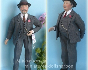 porcelain Doll 1:12  Mr. Chubby or Slim 1915 to 1950