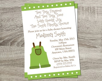 Printable Baby Shower Invitation - Baby Green Polka Dot with Green Coveralls 5x7 Invitation