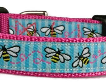 "Small Dog 5/8"" Bumblebee Fuchsia Dog Collar"