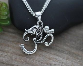 Ganesha Ohm necklace, Ganesha Om necklace, OM Elephant Head necklace, Ohm Pendant, Ohm Elephant necklace, Ganesha necklace, CHPL5267