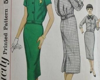 1950s Two Piece Dress Pattern /Detachable Collar/ Blouson Back/ Simplicity 2410/ Vintage Sewing Pattern /Bust 34