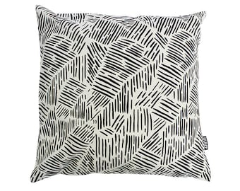 Lines in Black Throw Cushion