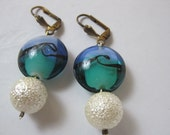 Blue and Green sea wave lamp work glass earrings