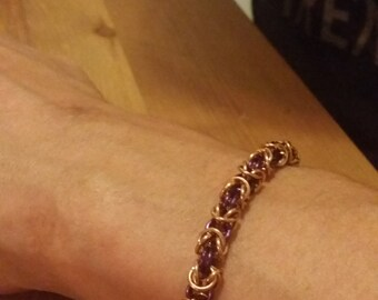 Mens Dark Purple Copper and Bronze Chainmaille Bracelet SALE