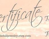 Gift Certificate 25, Printable, Redeemable only at Little Hill Jewelry