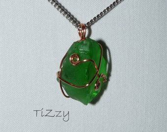 Green Beach Glass w/ Copper Wire Wrapped Necklace Pendant