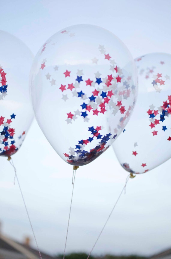 4th of July 11 inches Latex Balloon - Clear with SMALL STAR Confetti